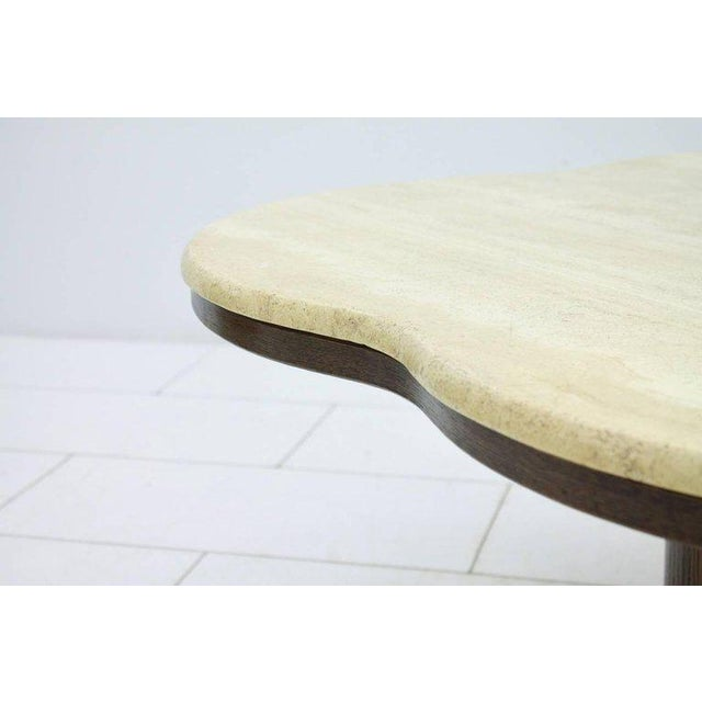 Mid-Century Modern Travertine Cloud Coffee Table With Wood Base, 1970s For Sale - Image 3 of 10