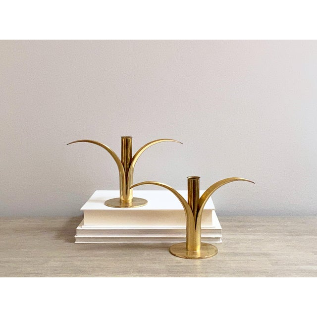 Swedish Mid-Century Brass Candlesticks by Ystad Metall - a Pair For Sale - Image 12 of 13