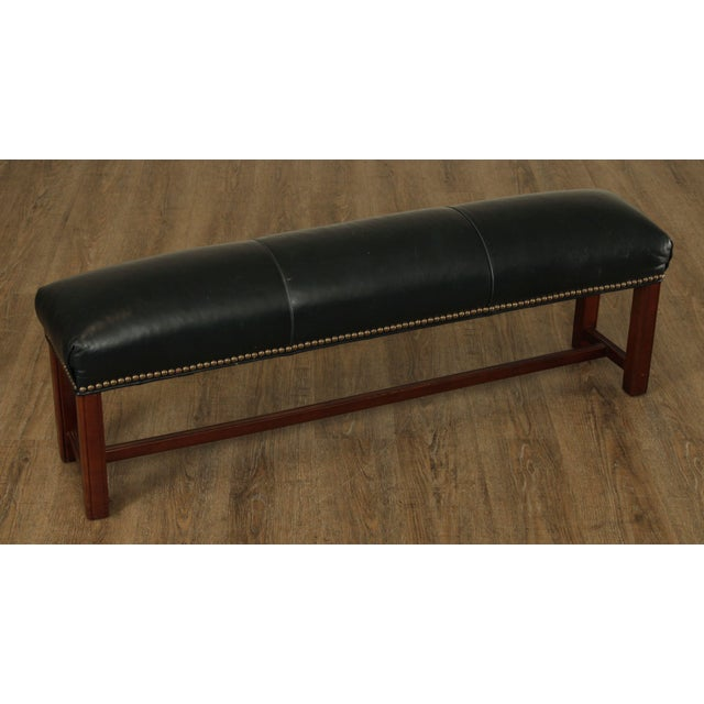 Chippendale Chippendale Style Leather Long Stool or Ottoman For Sale - Image 3 of 13