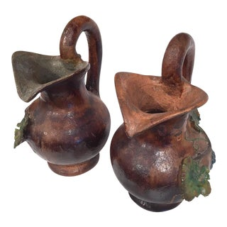 19th Century French Painted Barbotine Wine Pitchers - a Pair