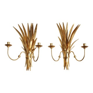 Vintage Pair of Gold Gilt Wheat Sheaf Candle Sconces For Sale