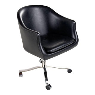 Vintage Nicos Zographos Black Leather and Chrome Base Bucket Chair on Casters