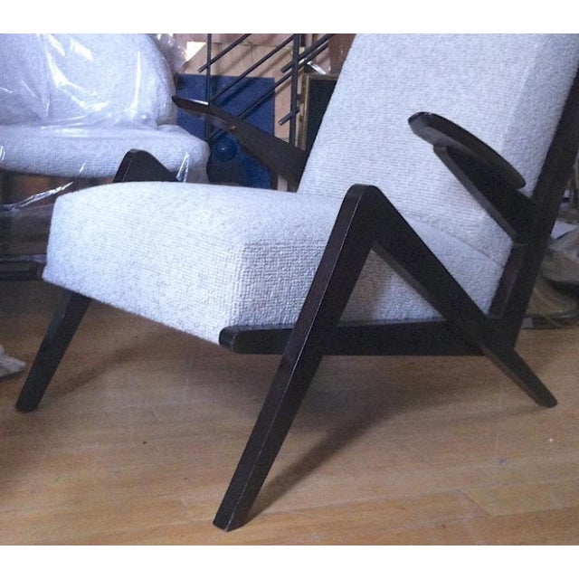 "Grasshopper"" Italian Oak 1950s Armchairs, Newly Recovered in Maharam Boucle For Sale - Image 4 of 5"