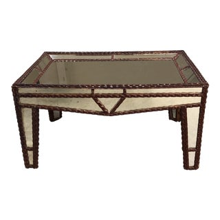 Vintage Tramp Art Wood + Mirrored Coffee Table From Friend For Sale