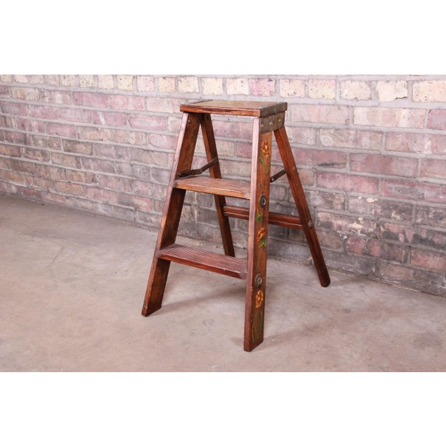 Vintage Hand-Painted Wooden Step Ladder For Sale - Image 10 of 10