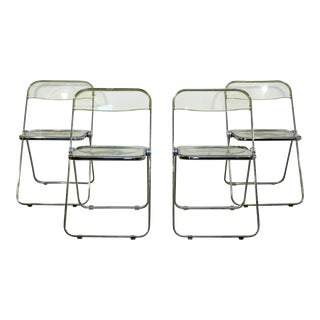 Mid Century Modern Set 4 Lucite Chrome Folding Side Chairs Italy 1960s Castelli For Sale