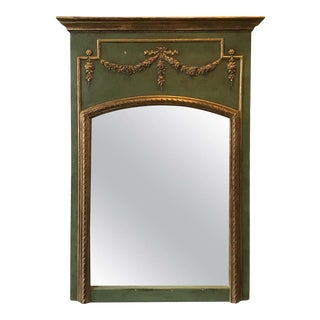 1950s French Green Trumeau Mirror With Gilt Accents For Sale