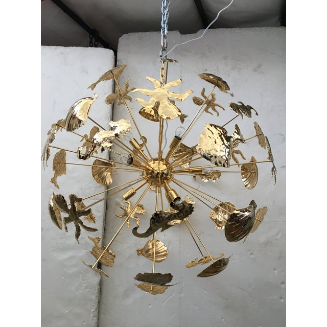 Contemporary Gold 24k Metal Frame Chandelier For Sale - Image 3 of 13