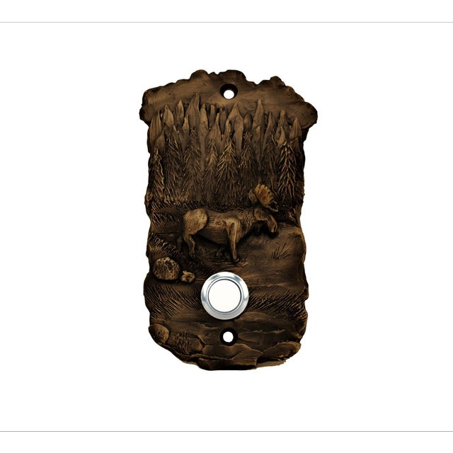 Cabin Scenic Moose Doorbell, Traditional Patina For Sale - Image 3 of 3