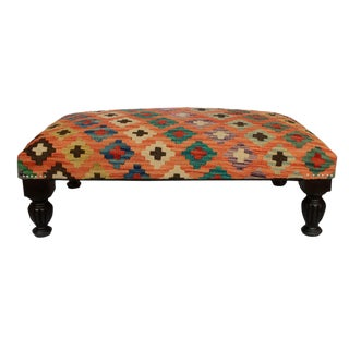 Donte Orange/Brown Handmade Kilim Upholstered Settee