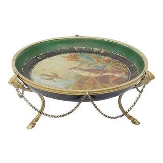 Antique Handpainted Tole & Brass Center Piece For Sale