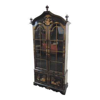 Chinoiserie Decorated Black Lacquered Bookcase Curio Cabinet For Sale