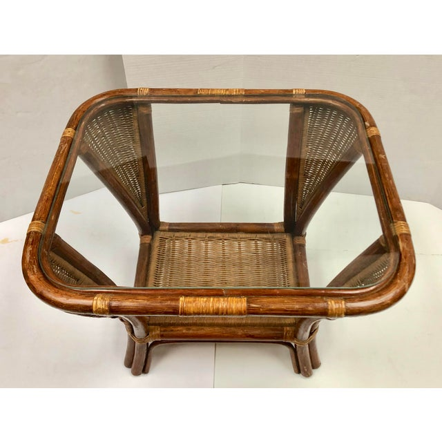 1940s Rattan and Wicker Side Table For Sale - Image 4 of 12