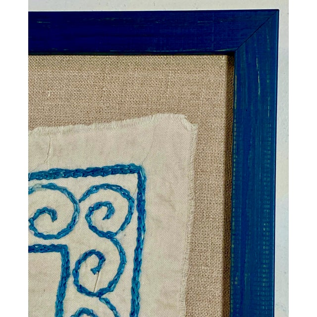 2010s Framed Antique Suzanni Floated on Belgian Linen For Sale - Image 5 of 7