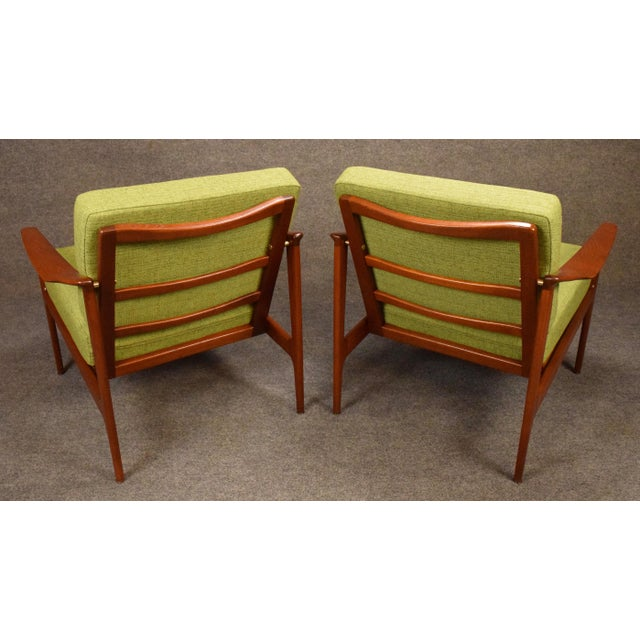 Brass 1960s Mid Century Modern Teak Lounge Chairs - a Pair For Sale - Image 7 of 11