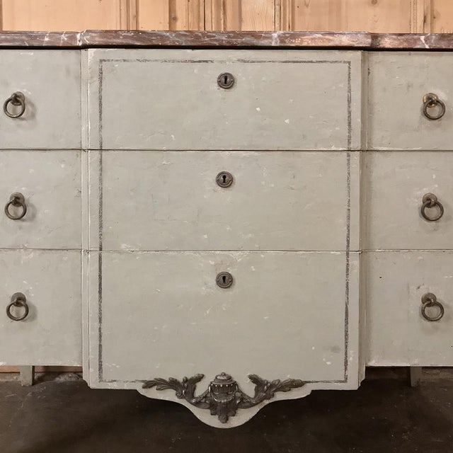 Bronze 19th Century French Louis XVI Painted Marble Top Commode For Sale - Image 7 of 13