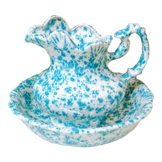 French Country Blue & White Sponge Ware Wash Bowl & Pitcher - 2 Pieces For Sale