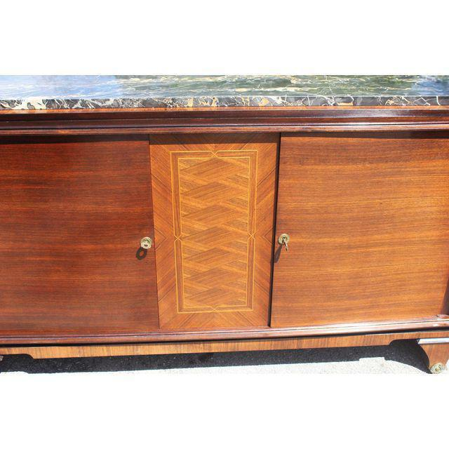 Art Deco 1940s Art Deco Exotic Macassar Ebony Marble Top Sideboard For Sale - Image 3 of 12