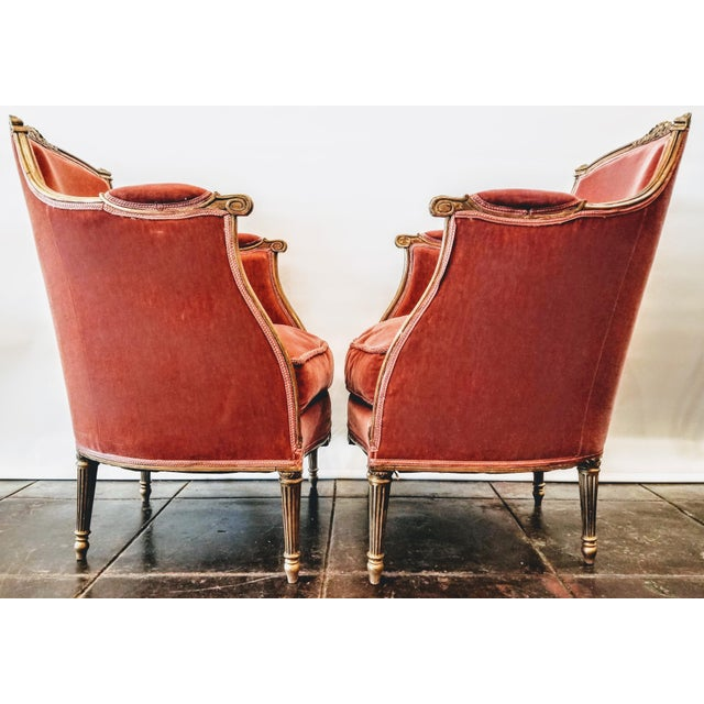 Wood Louis XV Style Pink Mohair Velvet Upholstery Bergere Chairs- A Pair For Sale - Image 7 of 9