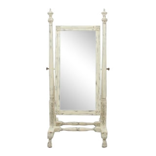 Carved Cheval Mirror in Antique White For Sale