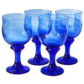Midcentury Blue Glasses- S/4 For Sale