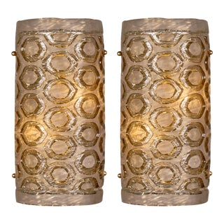 Modernist Murano Glass Stamped Sconces - a Pair For Sale