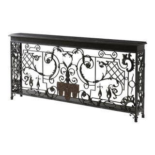 French Wrought Iron Console Table For Sale