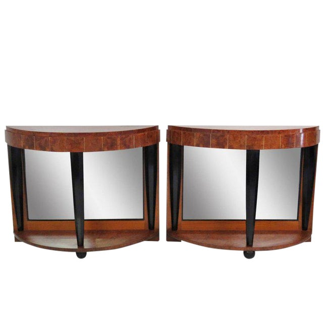 Pair of Mid Century Modern Style Burl Walnut and Ebonized Mirrored Consoles For Sale