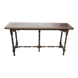 Vintage Spanish Revival Carved Solid Wood Console Entry Table