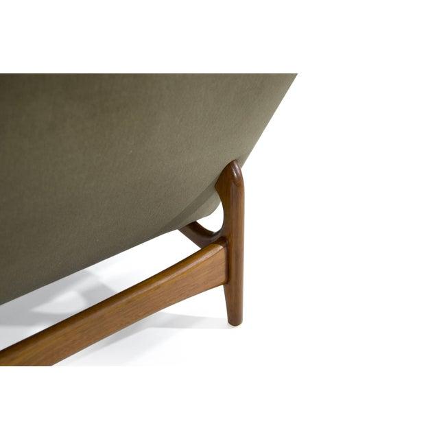 Teak Scandinavian Modern Olive Velvet on Sculptural Teak Base Lounge Chairs - a Pair For Sale - Image 7 of 11