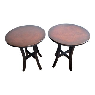 1990s Mid-Century Modern Crate & Barrel Collina Small Copper and Black Metal Side Tables - a Pair For Sale