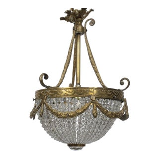 Petite French Empire Style Cast Bronze Beaded Chandelier For Sale