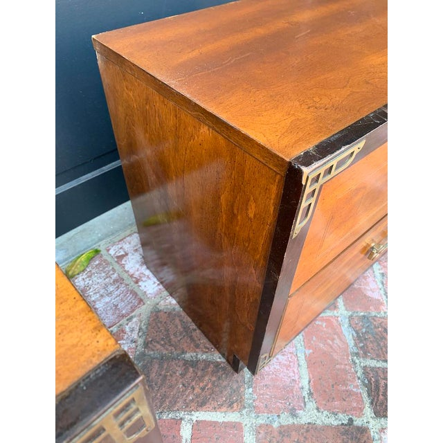 Bassett Asian Inspired Chinoiserie Nightstands - a Pair For Sale - Image 9 of 12