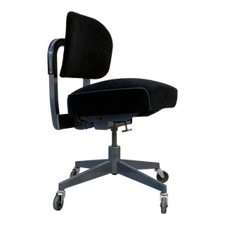 1960s Task Chair by Steelcase, Refinished in Black Velvet and Metallic Gray For Sale