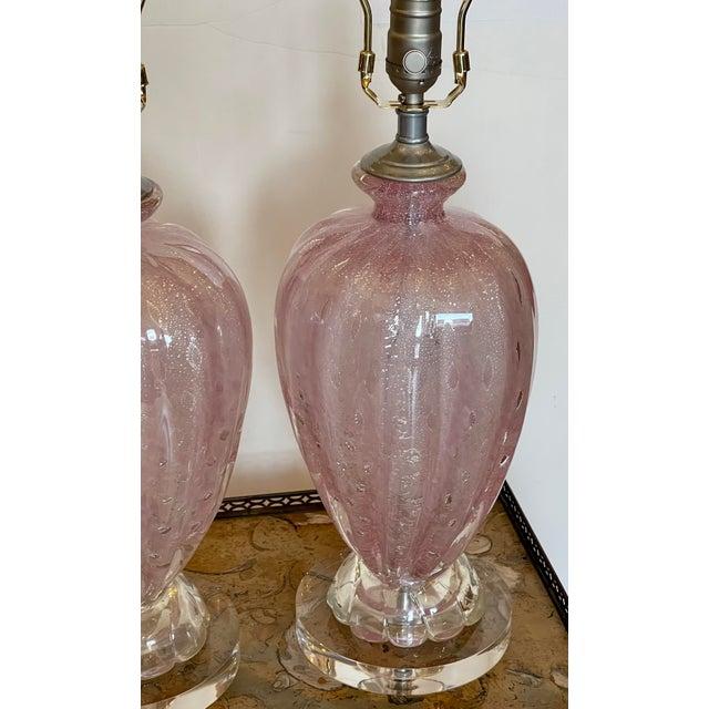Murano Mid Century Modern Seguso Murano Italian Art Glass Table Lamps For Sale - Image 4 of 5