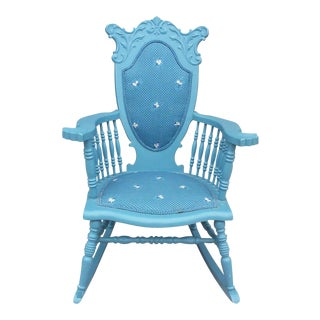Blue Antique Rocking Chair For Sale