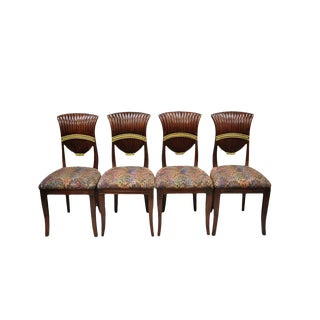 Late 20th Century Vintage French Neoclassical Style Mahogany Shell Fan Back Dining Room Chairs- A Pair For Sale