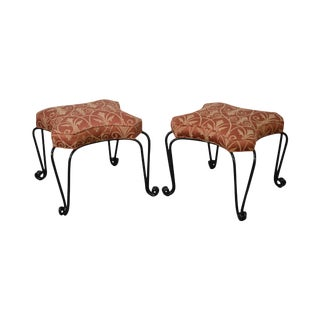 Wrought Iron Custom Upholstered Seat Stools Benches - A Pair For Sale