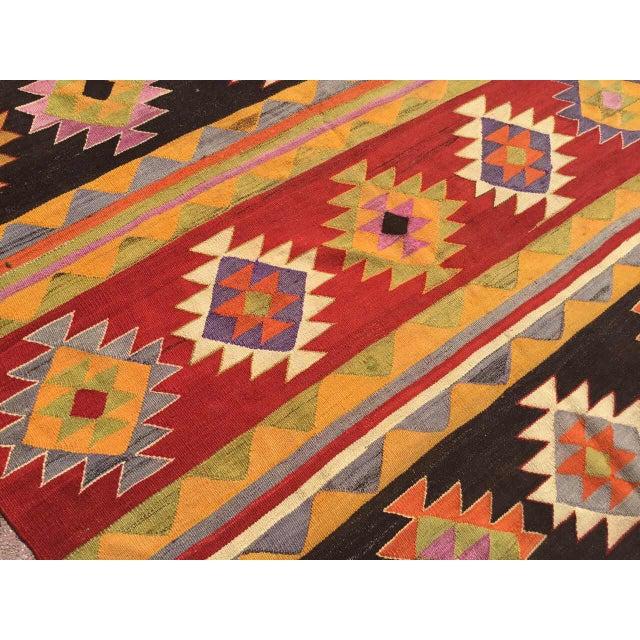 Vintage Aztec Kilim Rug For Sale In Raleigh - Image 6 of 9