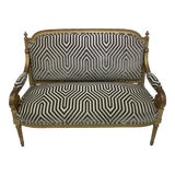 Image of Antique Gray & White Gilded Settee For Sale