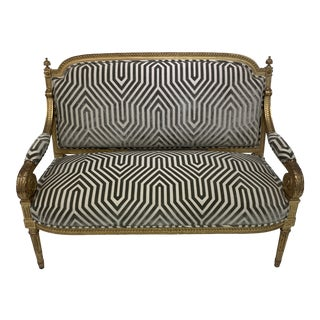 Antique Gray & White Gilded Settee For Sale