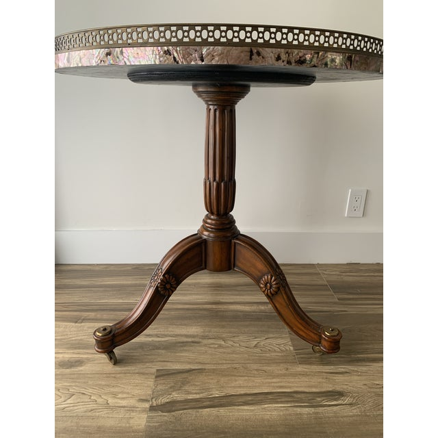Maitland Smith Abalone Center Gallery Rail Occasional Table For Sale - Image 12 of 13