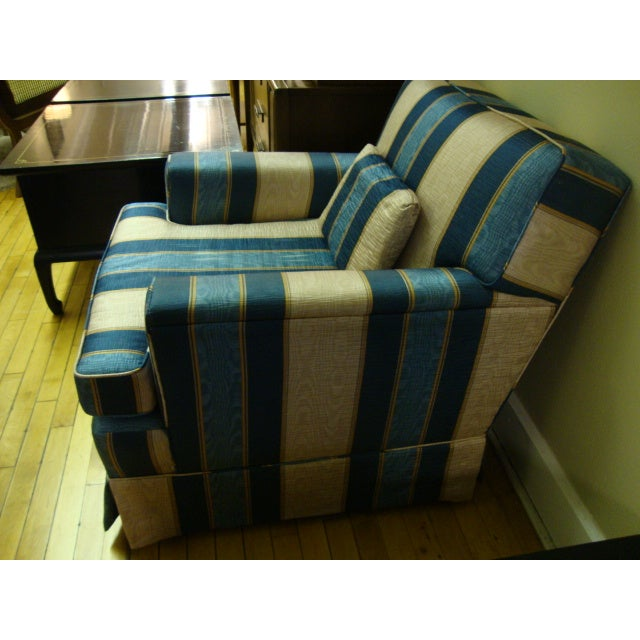 Vintage Moire Satin Armchair and Ottoman - Image 6 of 10