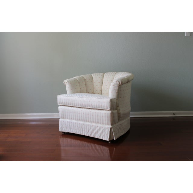 Upholstered Tufted Barrel Chairs - A Pair For Sale In San Antonio - Image 6 of 11