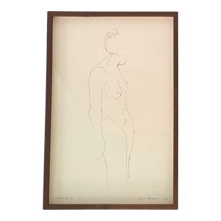 1972 Vintage Original Nude Female Signed Etching Print For Sale