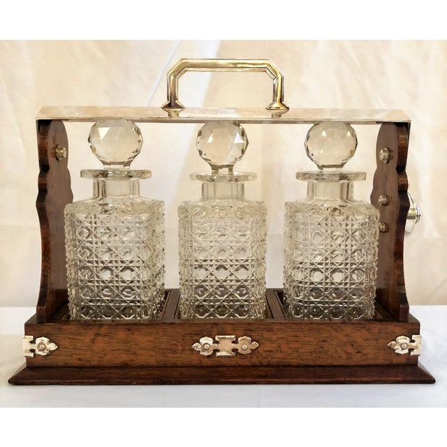 Antique English Three Bottle Golden Oak Tantalus, Circa 1880. For Sale In New Orleans - Image 6 of 6