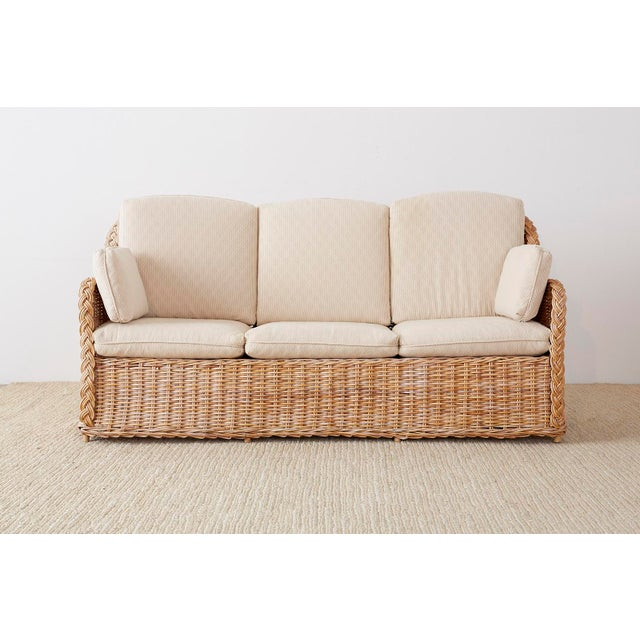 Contemporary Pair of Organic Modern McGuire Style Rattan Wicker Sofas For Sale - Image 3 of 13
