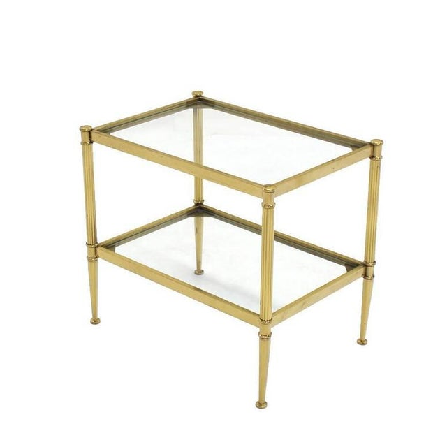 Early 20th Century Set of Three Mid-Century Modern Brass Nesting End Tables For Sale - Image 5 of 9
