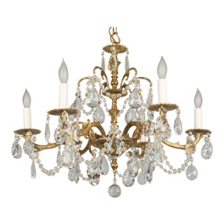 1950s Spanish Brass & Crystal Chandelier For Sale