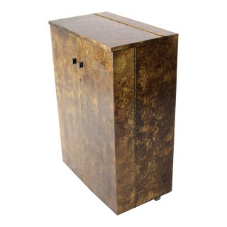 Mid-Century Modern Gold Splatter Tortoise Shell Finish Bar Liquor Cabinet on Wheels For Sale